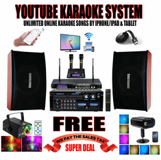 "<i><b><font color=""#FF0000"">Model: 2019 Youtube Karaoke by Iphone/Ipad &amp; Pc Tablet</font></b></i> Professional 3000W Complete Karaoke System Special Built in HDMI & Bluetooth <font color=""#FF0000""><b><i>Free: UHF-2000 Microphone</i></b></font> Perfect for DJ/KJ & Bar"