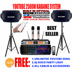 "<i><b><font color=""#FF0000"">Youtube Karaoke System by Iphone/Ipad &amp; Pc Tablet</font></b></i> Professional 2500W Complete Karaoke System Special Built in HDMI, Voice Record, Bluetooth & Optical / Coax <font color=""#FF0000""><b><i>Free: Gifts</i></b></font>"