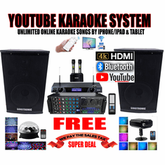 "<i><b><font color=""#FF0000"">Model: 2019 Youtube Karaoke System by Iphone/Ipad &amp; Pc Tablet</font></b></i> Professional 2000W Complete Karaoke System Special Built in HDMI & Bluetooth Function & Optical / Coax"