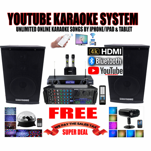 """<i><b><font color=""""#FF0000"""">Model: 2019 Youtube Karaoke System by Iphone/Ipad &amp; Pc Tablet</font></b></i> Professional 2000W Complete Karaoke System Special Built in HDMI & Bluetooth Function & Optical / Coax"""