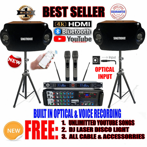 """<i><b><font color=""""#FF0000"""">Model: 2020 Youtube Karaoke System by Iphone/Ipad &amp; Pc Tablet</font></b></i> Professional 2000W Complete Karaoke System Built in USB Voice Record, Bluetooth & Optical"""
