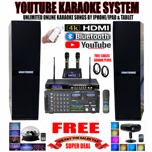 """<i><b><font color=""""#FF0000"""">Newest Model: 2019 Youtube Karaoke System by Iphone/Ipad &amp; PC Tablets</font></b></i> Professional 3000W Complete Karaoke System Special Built in HDMI, Voice Recording & Bluetooth with & 3.5"""" LCD Screen <font color=""""#FF0000""""><b><i>Free: UHF-2000 Wireless Microphone</i></b></font> Perfect for DJ & KJ"""