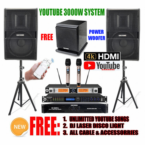 """<i><b><font color=""""#FF0000"""">Newest Model: 2020 Youtube Karaoke System by Iphone/Ipad &amp; PC Tablets</font></b></i> Professional 3000W Complete Karaoke System Special Built in Digital Optical, Coax, Voice Recording & Bluetooth Function <font color=""""#FF0000""""><b><i>Free: SW-350B Power Sub-woofer</i></b></font> Perfect for DJ & KJ"""