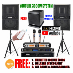 "<i><b><font color=""#FF0000"">Newest Model: 2020 Youtube Karaoke System by Iphone/Ipad &amp; PC Tablets</font></b></i> Professional 3000W Complete Karaoke System Special Built in Digital Optical, Coax, Voice Recording & Bluetooth Function <font color=""#FF0000""><b><i>Free: SW-350B Power Sub-woofer</i></b></font> Perfect for DJ & KJ"