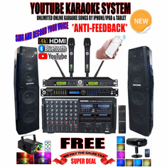 "<i><b><font color=""#FF0000"">Newest Model: 2019 Youtube Karaoke System by Iphone/Ipad &amp; PC Tablets</font></b></i> Professional 4000W Complete Karaoke System Special Built in HDMI, Voice Recording & Bluetooth Function  <font color=""#FF0000""><b><i>Include Free: DSP-888Pro Processor Anti-Feedback</i></b></font> Perfect for DJ & KJ"
