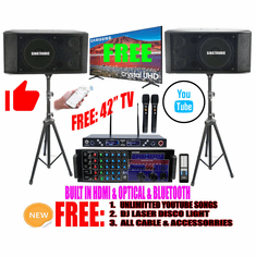 "<i><b><font color=""#FF0000"">Newest Model: 2020 Youtube Karaoke System by Iphone/Ipad &amp; Pc Tablet</font></b></i> Professional 3000W Complete Karaoke System Special Built in HDMI, USB Voice Record, Bluetooth Function & Optical / Coax <font color=""#FF0000"">FREE: 42"" Samsung TV</font>"