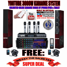 "<i><b><font color=""#FF0000"">Newest Model: 2020 Youtube Karaoke System by Iphone/Ipad &amp; Pc Tablet</font></b></i> Professional 3000W Complete Karaoke System Special Built in HDMI, USB Voice Record, Bluetooth Function & Optical / Coax <font color=""#FF0000"">Highly Recommended</font>"