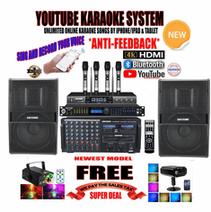 "<i><b><font color=""#FF0000"">Newest Model: 2020 Youtube Karaoke System by Iphone/Ipad &amp; PC Tablets</font></b></i> Professional 4000W Complete Karaoke System Special Built in HDMI, Bluetooth, Voice Recording & Digital Optical <font color=""#FF0000""><b><i>Free: UHF-3500 Wireless 4 x Microphone</i></b></font> Perfect for Home"