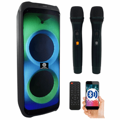 """Singtronic BT-1010Pro Professional Portable Double 10"""" Bluetooth Speaker via Youtube Karaoke System <font color=""""#FF0000"""">Free: 2 x Wireless Microphone</font> and Best Seller"""