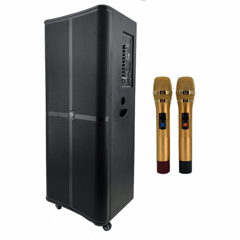 """Singtronic BT-1515Pro Professional Portable Double 15"""" Bluetooth Speaker via Youtube Karaoke System <font color=""""#FF0000"""">Free: 2 x Wireless Microphone Top of the Line</font>"""