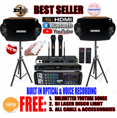 "Singtronic Complete 1500W Karaoke System Specials with 50,000 Songs <font color=""#FF0000""><b><i>Newest Model: 2019 With HDMI, Wifi, Voice Record & Youtube Unlimited Songs</i></b></font>"
