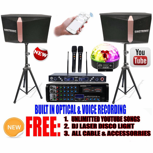 Singtronic Complete 1500W Youtube Karaoke System via Iphone, Ipad, Android PC Built in USB Voice Record, HDMI-Arc, Bluetooth & Optical