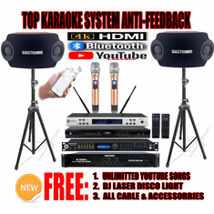 "Singtronic Complete Professional 2000W Digital Class D Amplifier with Digital Mixer, Equilizer, <b><font color=""#FF0000"">Anti-Feedback Karaoke System</font></b> Diamond Wireless Microphone"