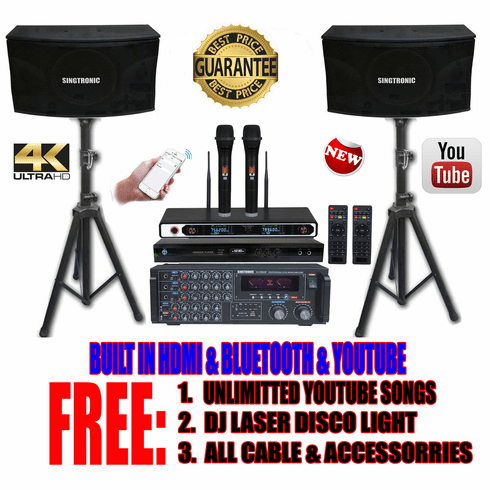 """Singtronic Complete Professional 1700W Karaoke System <font color=""""#FF0000""""><b><i>Newest: 2019 Loaded 50,000 Songs</i></b></font> Wifi, HDMI, Bluetooth Function & Unlimited Youtube Songs"""
