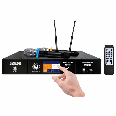 Singtronic DSP-3000Pro Professional 2 in 1 Karaoke Processor and 2 x Wireless Microphone System Built in HDMI-Arc, Bluetooth, Digital EQ and Digital Optical Input