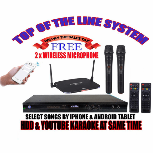 """Singtronic KTV-9000UHD Professional 2TB Hard Drive Player Package with UHF-550 Dual Wireless Microphone <font color=""""#FF0000""""><b><i>Free: 40,000 Songs & Unlimited Youtube Karaoke</i></b></font>"""
