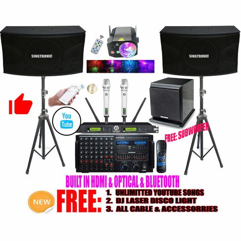 """Singtronic Professional 4000W Youtube Karaoke System by Iphone / Ipad and Android PC Built in HDMI, Bluetooth, USB Voice Record, Equalizer and Digital Optical with Boom Bass Power Subwoofer <font color=""""#FF0000"""">Newest: 2021</font> Youtube Unlimitted Songs"""