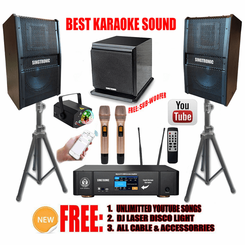 """Singtronic Professional 4000W Karaoke System Unlimited Youtube Songs via Iphone & PC Tablets Built in Bluetooth, Optical & HDMI-Arc and 3.5"""" Touch Screen"""