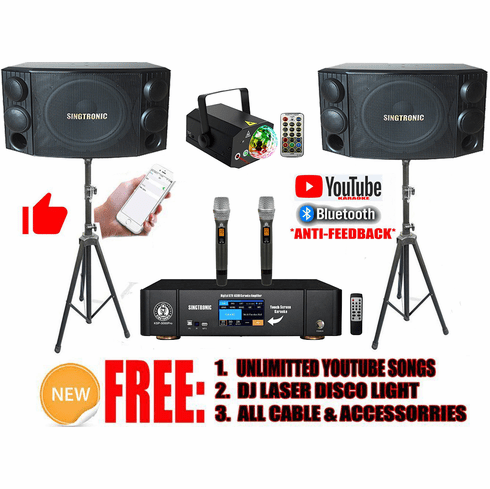 """Singtronic Professional Complete 3000W Youtube Karaoke System by iOS and Android PC Tablet Built in 3.5"""" Touch Screen, Bluetooth, Optical and Anti-Feedback"""