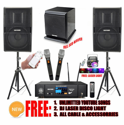 """Singtronic Professional Complete 3000W Karaoke System Built in HDMI-Arc, Bluetooth, Digital Optical and 3.5"""" Touch Screen with Subwoofer"""