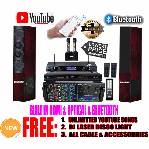 """Singtronic Professional Complete 3000W Karaoke System <font color=""""#FF0000""""><b><i>Model: 2019 Loaded Over 80,000 Songs</i></b></font> Wifi, HDMI, Optical, Bluetooth Function & Youtube Unlimited Songs"""