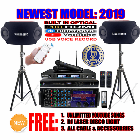 "Singtronic Professional Complete 2500W Karaoke System <font color=""#FF0000""><b><i>Model: 2019 Loaded Over 80,000 Songs</i></b></font> Wifi, HDMI, Optical, Bluetooth Function & Youtube Unlimited Songs"