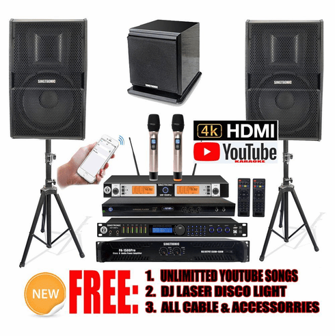 """Singtronic Professional Complete 3000W Karaoke System <font color=""""#FF0000""""><b><i>Model: 2020 Loaded 80,000 Songs</i></b></font> Wifi, HDMI, Optical & Youtube Unlimited Songs Free: Power Subwoofer <font color=""""#FF0000"""">Built in Anti-Feedback</font>"""