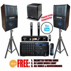 """Singtronic Professional Complete 4000W Karaoke System Built in 3.5"""" Touch Screen Processor, HDMI-Arc, Optical, Bluetooth and Digital Equalizer Unlimited Youtube Songs via Iphone/Ipad & PC Tablets"""