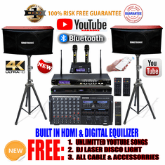 "Singtronic Professional Complete 4000W Karaoke System <font color=""#FF0000""><b><i>Model: 2019 Loaded 80,000 Songs</i></b></font> Wifi, HDMI, Voice Recording & Youtube Unlimited Songs"