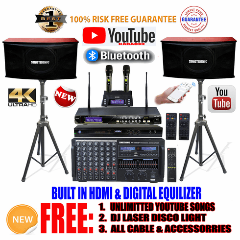 """Singtronic Professional Complete 4000W Karaoke System <font color=""""#FF0000""""><b><i>Model: 2019 Loaded 80,000 Songs</i></b></font> Wifi, HDMI, Voice Recording & Youtube Unlimited Songs"""
