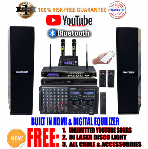 """Singtronic Professional Complete 4000W Karaoke System <font color=""""#FF0000""""><b><i>Newest: 2019 Loaded 80,000 Songs</i></b></font> Wifi, HDMI, Voice Recording, Bluetooth & Youtube Unlimited Songs Best Seller"""