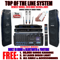 "Singtronic Professional Complete 4000W Karaoke System <font color=""#FF0000""><b><i>Top of the Line Newest: 2019 Super Tweeters &amp; Monster Bass W/ Wifi & Voice Recording</i></b></font> FREE: 80,000 Songs & Youtube Karaoke"