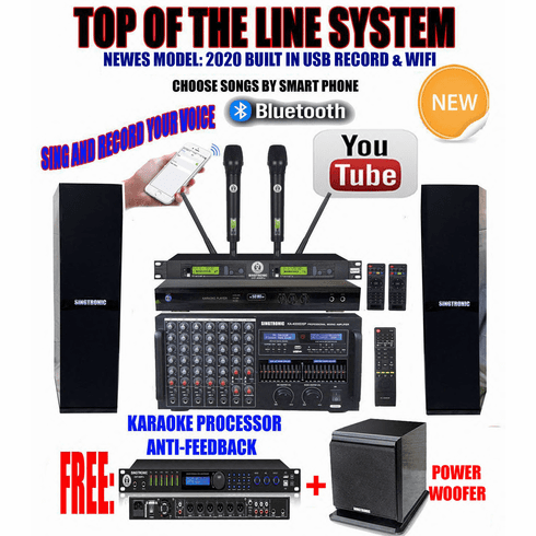 "Singtronic Professional Complete 4000W Karaoke System <font color=""#FF0000""><b><i>Top of The Line Model: 2020 Super Tweeters &amp; Monster Bass W/ Wifi & Voice Recording</i></b></font> FREE: 80,000 Songs & Youtube Songs"