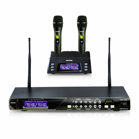 "Singtronic UHF-2000 Professional Digital Dual Wireless Rechargeable Microphone Karaoke System <b><i><font color=""#FF0000"">Model: 2020 Feedback Control</font></i></b>"