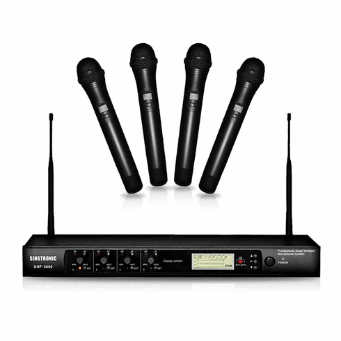 Singtronic UHF-3000 Professional Quad Channels Rechargeable Wireless Microphone Karaoke