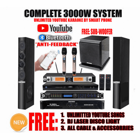 """Singtronic Professional Complete 3000W Karaoke System <font color=""""#FF0000""""><b><i>Newest: 2020 With DSP-888 Digital Echo Processor Anti-Feedback</i></b></font> FREE: 4K HDD Player 80,000 Songs & Unlimited Youtube Songs"""