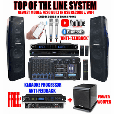 "Singtronic Professional Complete 5000W Karaoke System <font color=""#FF0000""><b><i>Top of the Line Newest: 2020 Super Tweeters &amp; Monster Bass W/ Wifi & Voice Recording</i></b></font> FREE: DSP-888Pro Processor & 80,000 Songs & Youtube Karaoke"