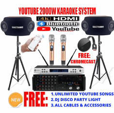 "<i><b><font color=""#FF0000"">Newest: 2020 Youtube Karaoke System by Iphone/Ipad &amp; Pc Tablet</font></b></i> Professional 2000W Complete Karaoke System Special Built in HDMI, Bluetooth <font color=""#FF0000"">Best Seller</font>"