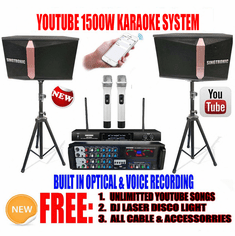 "<i><b><font color=""#FF0000"">Model: 2020 Youtube Karaoke System by Iphone/Ipad &amp; Pc Tablet</font></b></i> Professional 1500W Complete Karaoke System Built in USB Voice Record, Bluetooth & Optical"