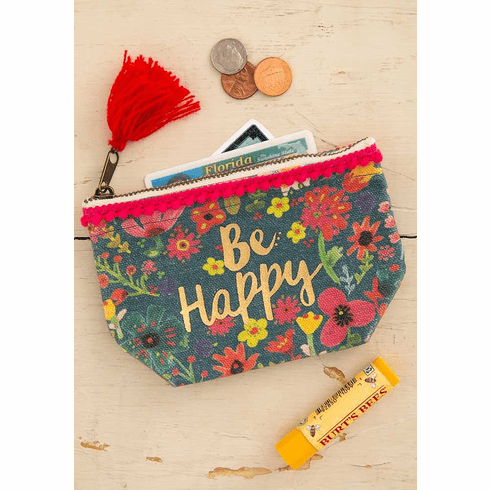 """Be Happy Mini Canvas Pouch - """"Natural Life"""""""