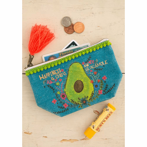 "Chips and Guacamole Mini Canvas Pouch - ""Natural Life"""