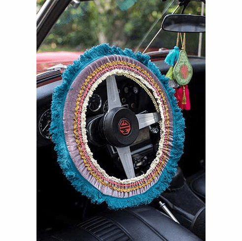 "Gray and Blue Fringe Steering Wheel Covers - ""Natural Life"""
