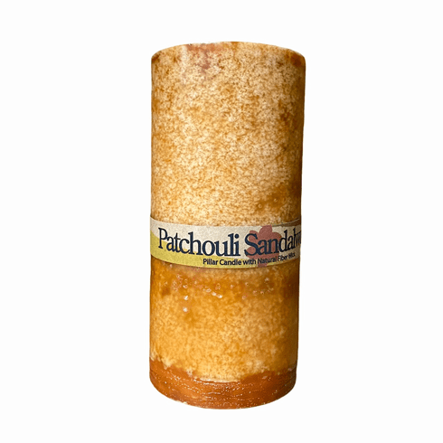 Large Patchouli Sandalwood Pillar Candle