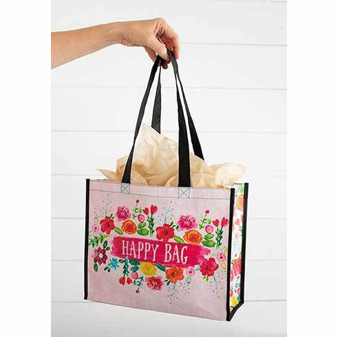 "Large Pink Floral Happy Bag  ""Natural Life"""