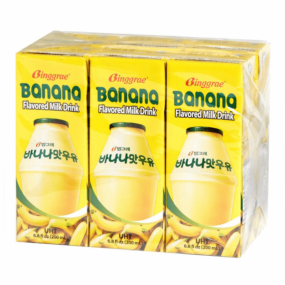 Banana Flavored Milk Drink 6.8oz(200ml) 6 Packs 100%