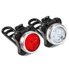 1 Pair USB Rechargeable Bike Light Set Super Bright Front Headlight and Free Rear LED Bicycle Light Safety Warning 2019
