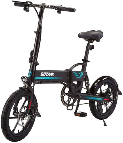 GOTRAX 16inch Folding Electric Bike with 36V 7.5Ah Removable Lithium-Ion Battery, 350W Powerful Motor up Speed 25km/h, Dual Disc Brakes and Alloy Frame Electric Bicycle