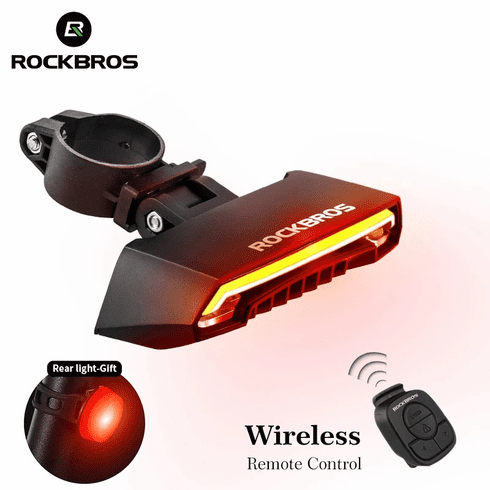 ROCKBROS Bicycle Light  LED USB Rechargeable TailLight Warning Bike Rear Lights  Smart Wireless Remote Control Turn Signal Light