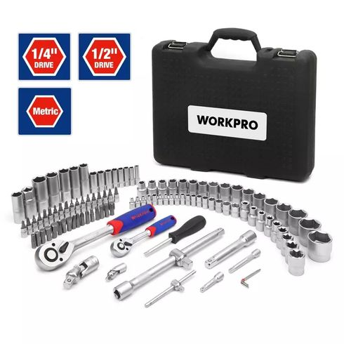 WORKPRO 108PC Tool Set for Car Repair Tools Mechanic Tool Set Matte Plating Socket Set Ratchet Spanners Wrench