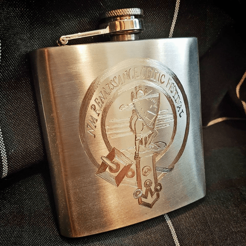 6oz NMRCF hand etched Flask